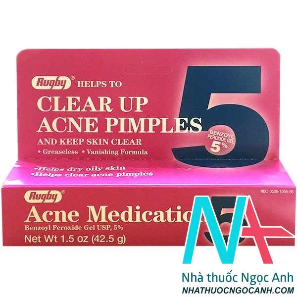 Rugby Acne Medication Benzoyl Peroxide Gel 5%1.5OZ