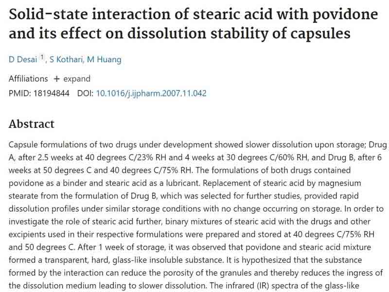 Bái báo nghiên cứu về tá dược Acid stearic