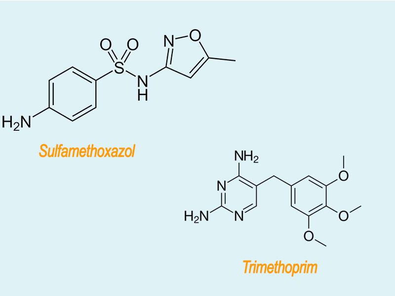 Hình ảnh: Công thức hóa học của Sulfamethoxazol và Trimethoprim