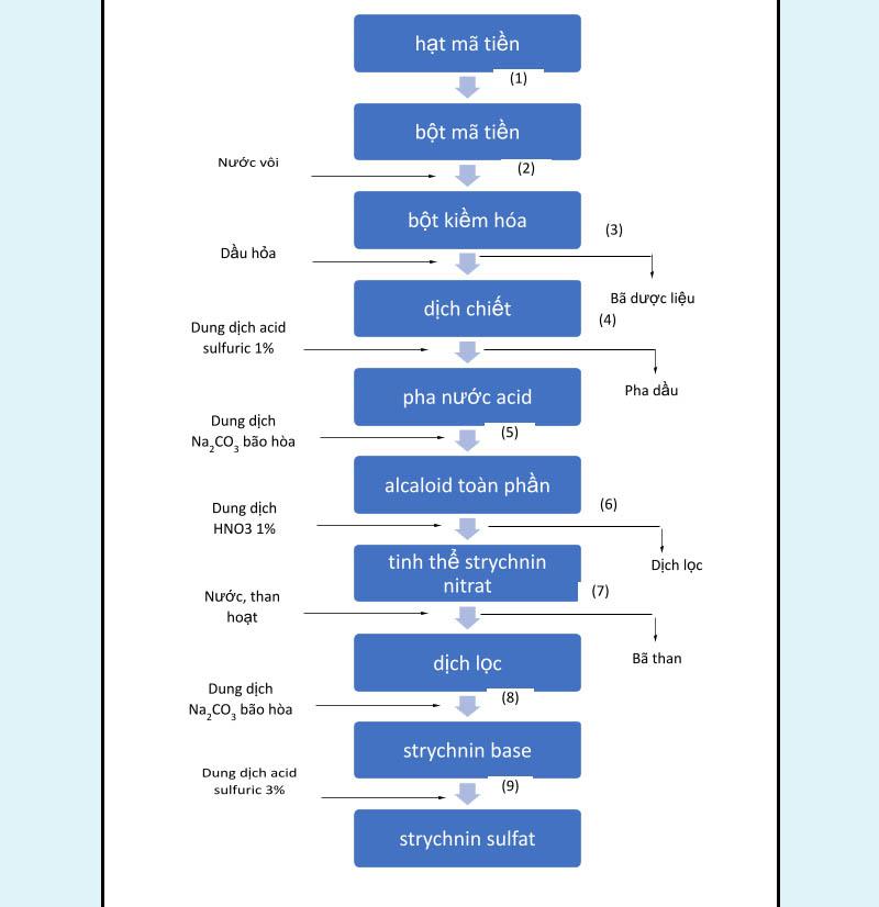 Sơ đồ quy trình chiết xuất strychnin từ hạt mã tiền